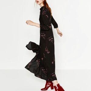 Zara Floral Print Viscose Prairie Maxi Dress